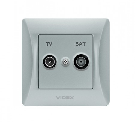 VIDEX BINERA Розетка TV+SAT конечная серебряный шёлк (VF-BNSK2TVSATE-SS) (20/120)