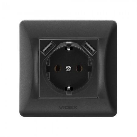 VIDEX BINERA Розетка черный графит 1ая с заземлением и 2USB (VF-BNSK1GU2-BG) (20/120)