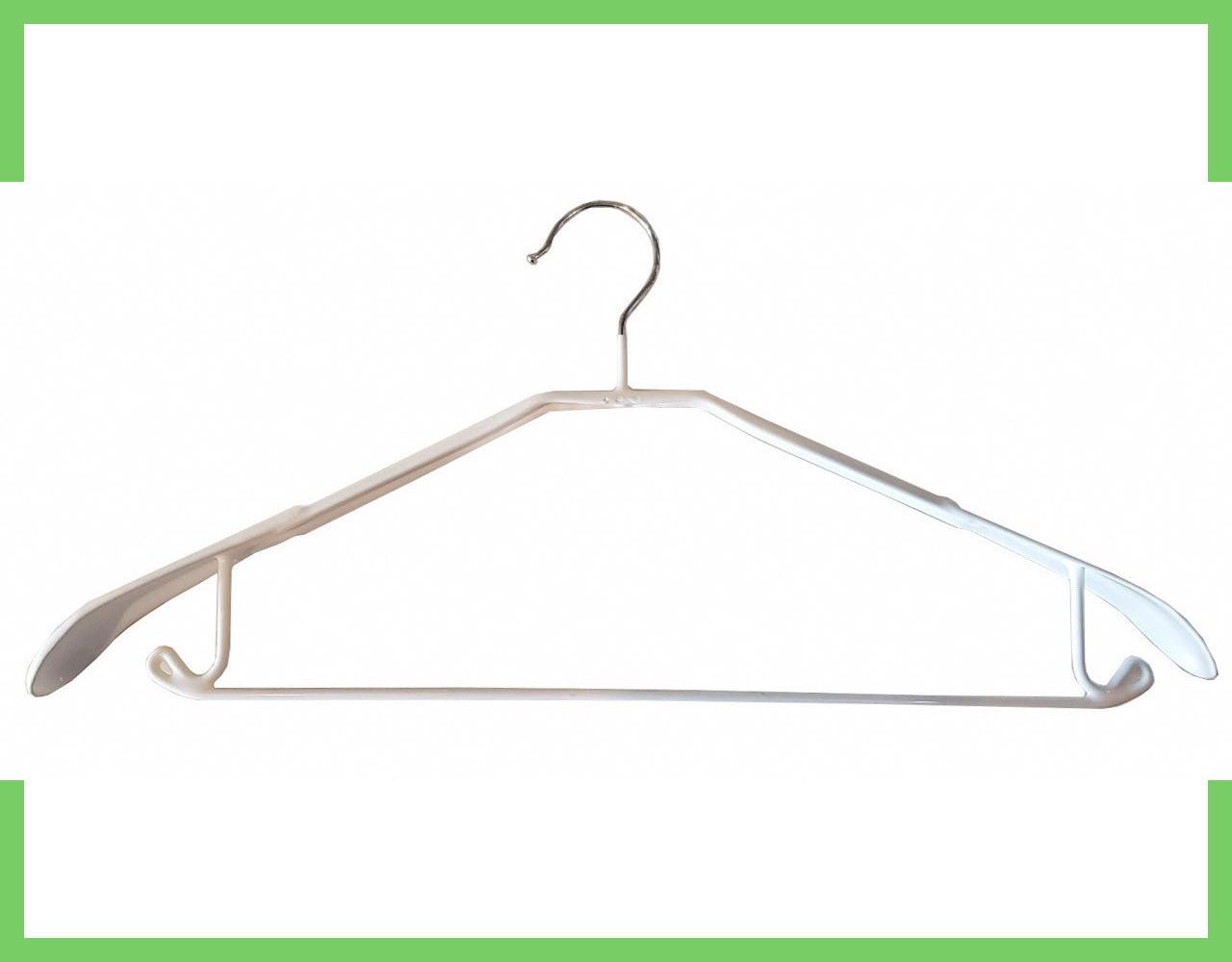 Плечики вешалки для одежды (силикон) белый перемычка с крючком 43 см