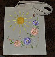 Экосумка из хлопка  с цветочной вышивкой ручной работы