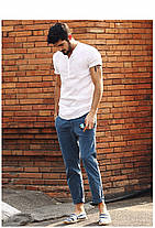 Мужская рубашка с воротом стойкой из лёна белая, фото 3
