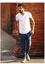 Мужская рубашка с воротом стойкой из лёна белая, фото 2