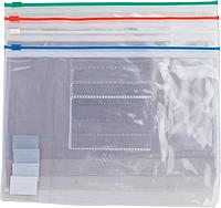 Папка-конверт А5 на молнии BUROMAX прозрачная ассорти
