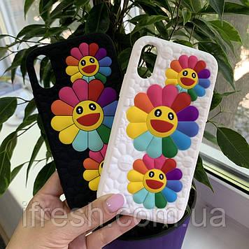 Чехол силиконовый FLOWERS для iPhone X/XS