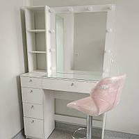 Визажный стол с ящиками (ручки кристалы), полочками у зеркала и стеклом на столешнице