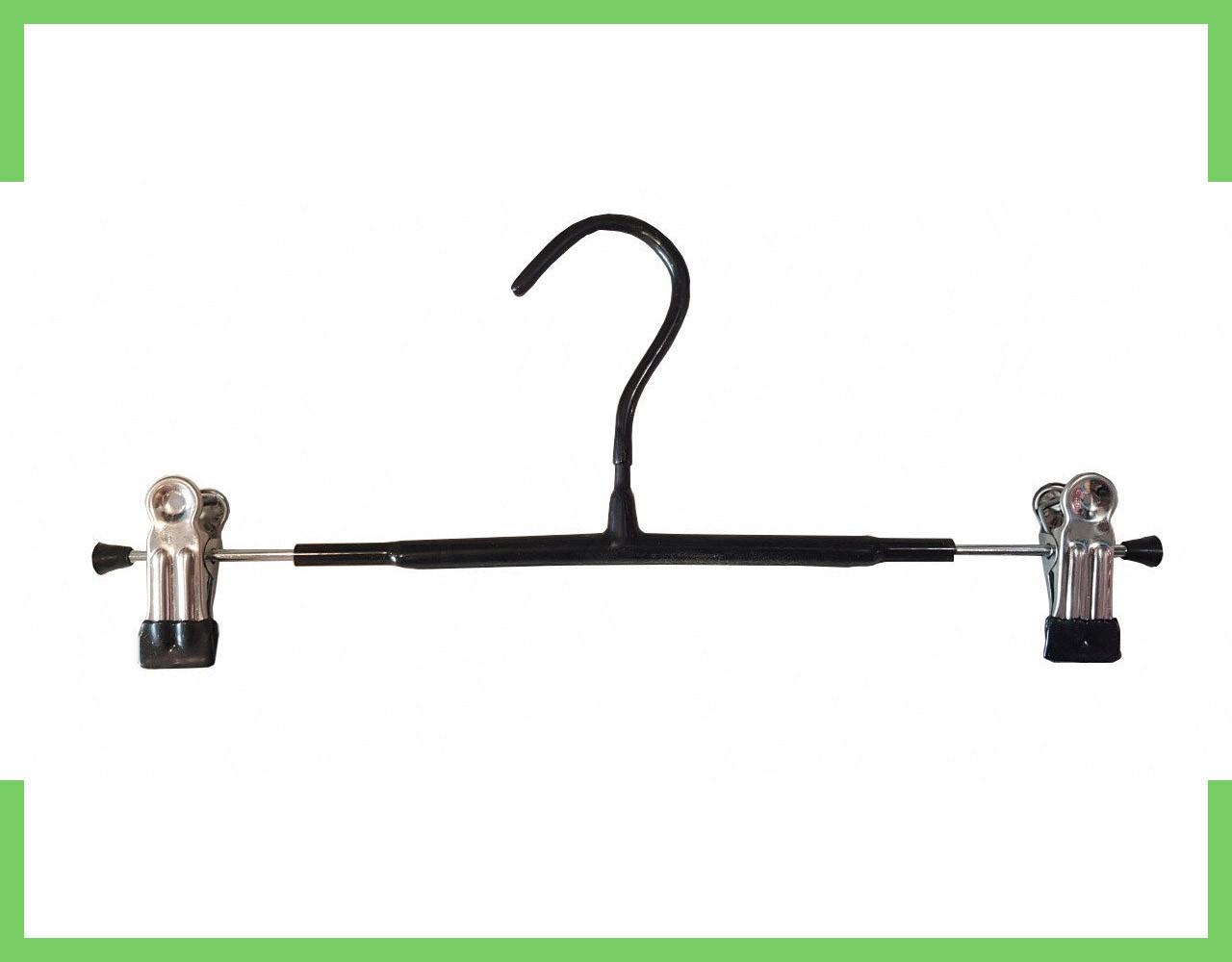Вешалки плечики тремпеля с прищепками для брюк и юбок 30 см (хром+черный силикон)
