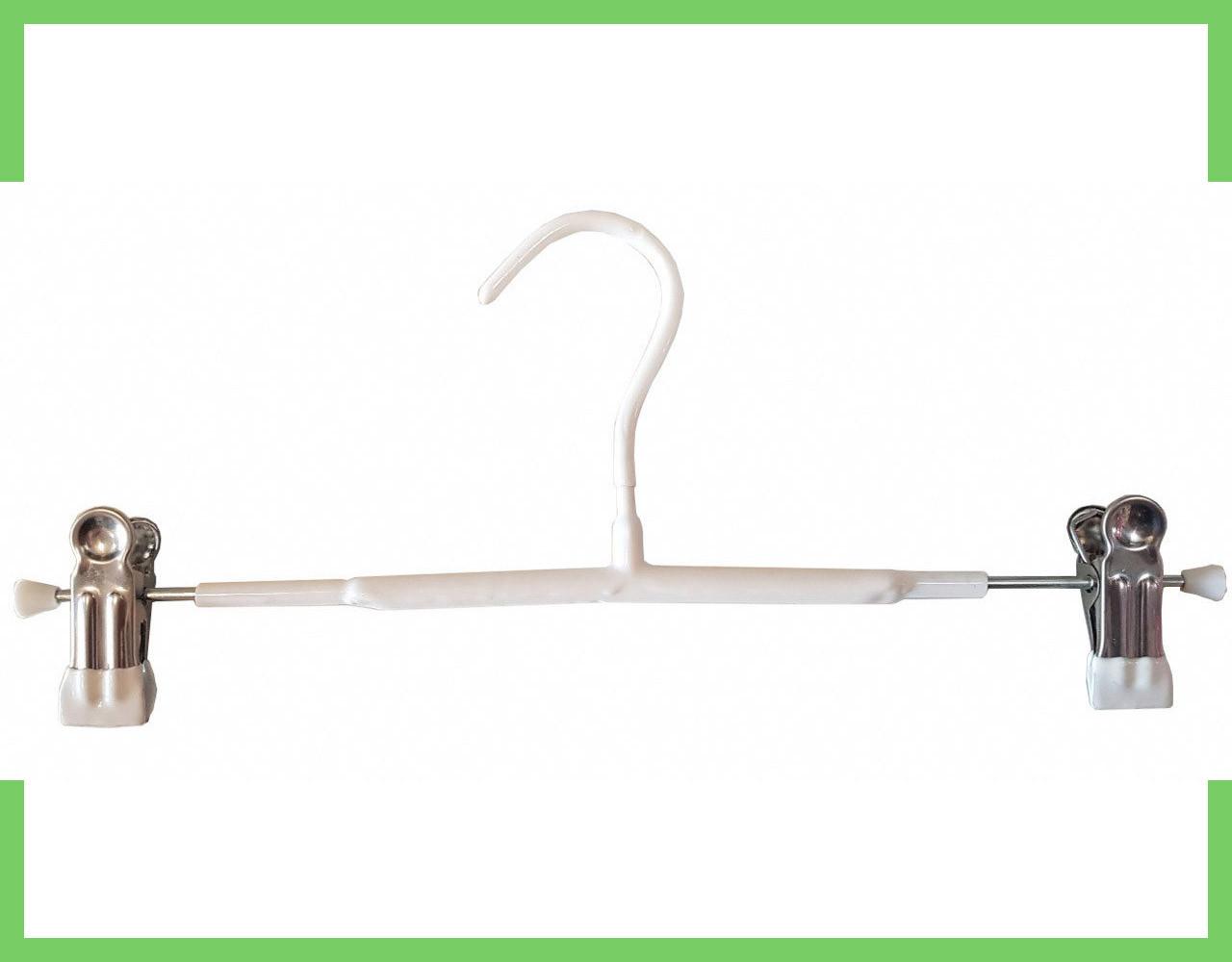 Вешалки плечики тремпеля с прищепками для брюк и юбок 30 см (хром+белый силикон)