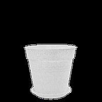 Горшок цветочный Глория 11х10,2 см белый флок 0,6 л , Украина