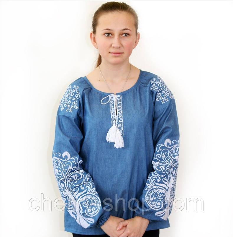 Женская вышиванка блуза из джинса