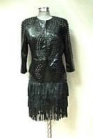 Куртка женская из экокожи черная короткая, фото 1