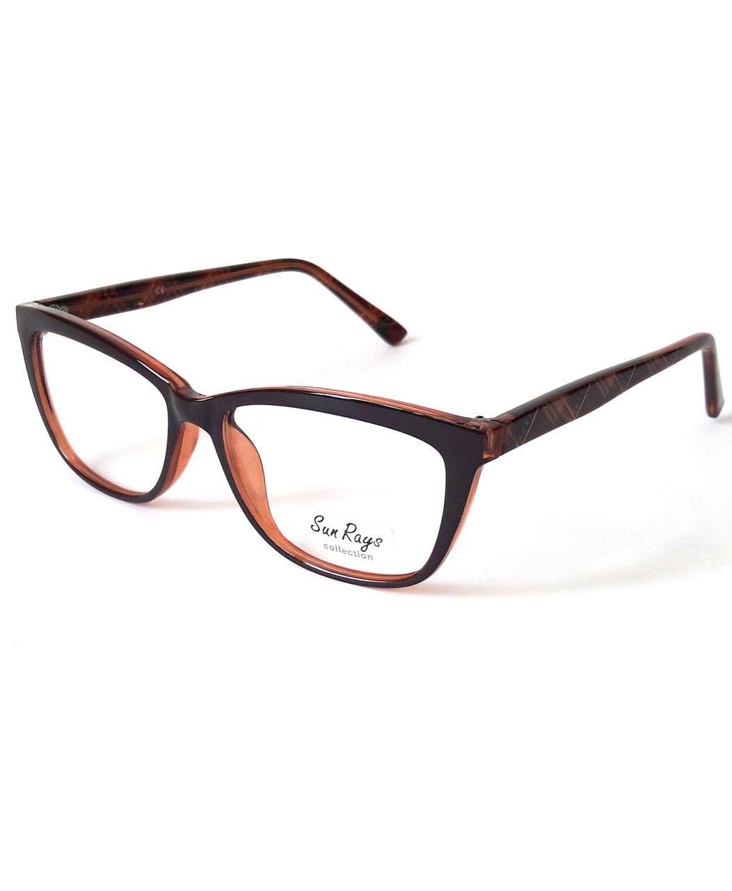 Оправа двоколірна, ошатна, коричнево-вишнева, пластикова, жіноча, Sun Rays