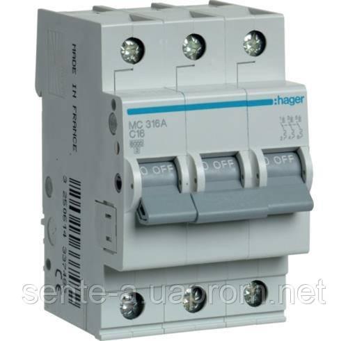 Автоматический выключатель 3 пол. 13А тип С 6КА МС313А HAGER