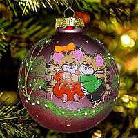 """Новогодняя игрушка символ года """"Мышки на скамейке"""" 85 мм"""