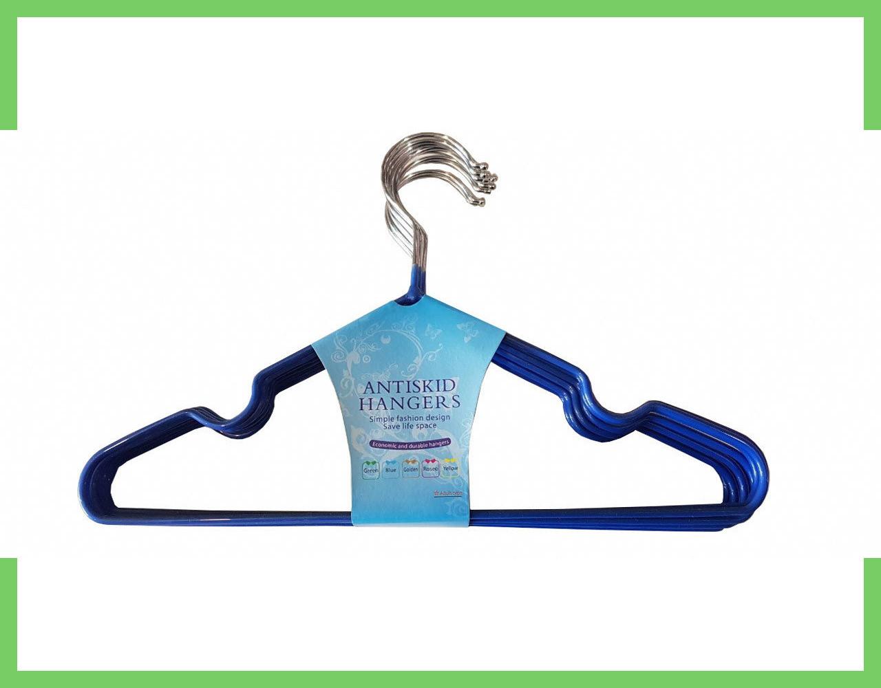 Плечики вешалки металлические в силиконе (детские) 29 см (Синие)