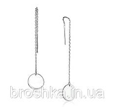 Крупные серебряные серьги протяжки с подвеской монета
