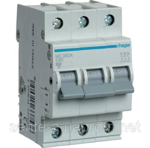 Автоматичний вимикач 3 підлогу. 50А тип З 6КА МС350А HAGER