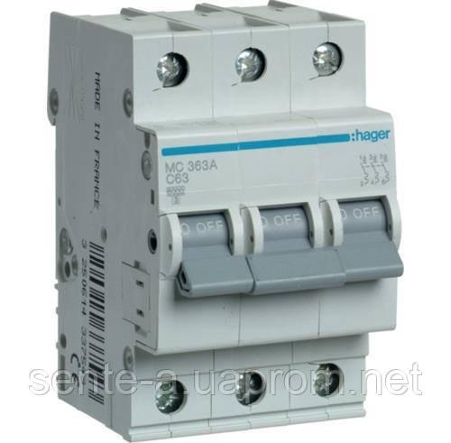 Автоматический выключатель 3 пол. 63А тип С 6КА МС363А HAGER