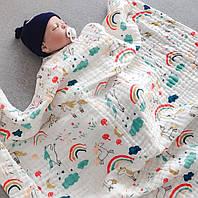 Муслиновая большая простынь, одеяло, полотенце, покрывало пеленка, игровой коврик 100*110см.