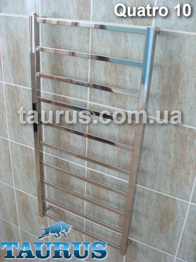 Комбинированный полотенцесушитель (вода + электро) Quatro 10/1050х450 из плоской нержавеющей стали