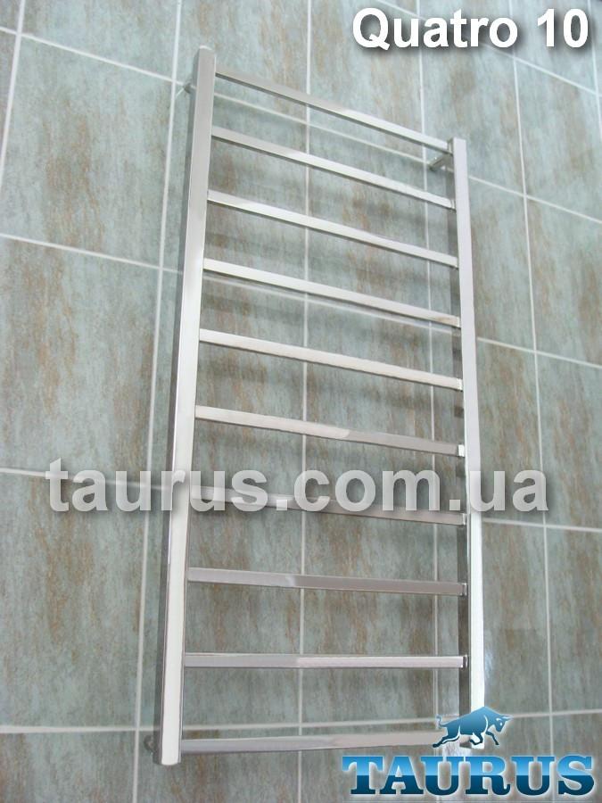 Длинный и узкий полотенцесушитель Quatro 10 /1050х400 из квадратной плоской трубы. Водяной и электро