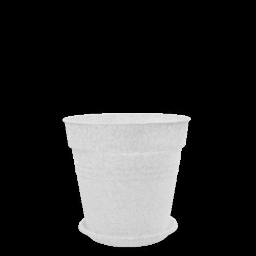 Горшок цветочный Глория 23,1*22,1 белый флок,  Алеана