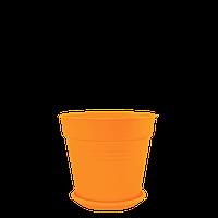 Горшок цветочный Глория 23,1*22,1 ,   оранжевый ,  Украина