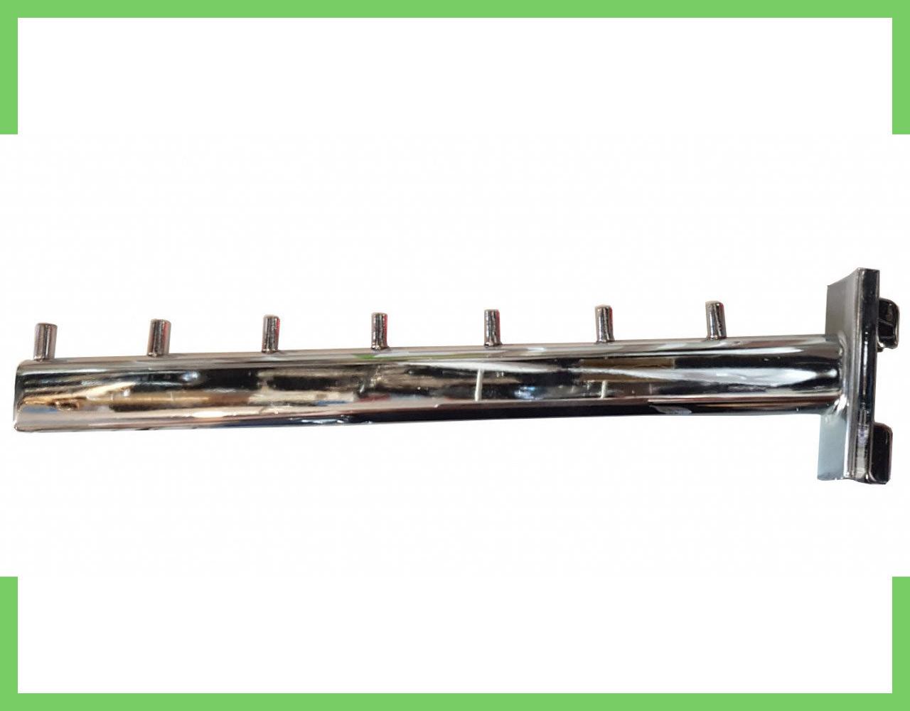 Кронштейн (Флейта) в рейку, хром,30см (7 гвоздиков)