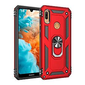 Чехол накладка для Huawei Y6 2019 противоударный с подставкой, Stranger, красный