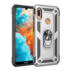 Чехол накладка для Huawei Y6 2019 противоударный с подставкой, Stranger, серебристый
