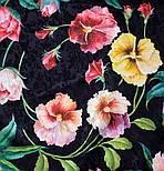 Анютины глазки 10027-18, павлопосадский платок шелковый (жаккард) с подрубкой, фото 4