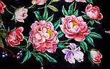 Анютины глазки 10027-18, павлопосадский платок шелковый (жаккард) с подрубкой, фото 6