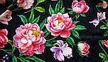 Анютины глазки 10027-18, павлопосадский платок шелковый (жаккард) с подрубкой, фото 9