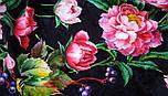 Анютины глазки 10027-18, павлопосадский платок шелковый (жаккард) с подрубкой, фото 10