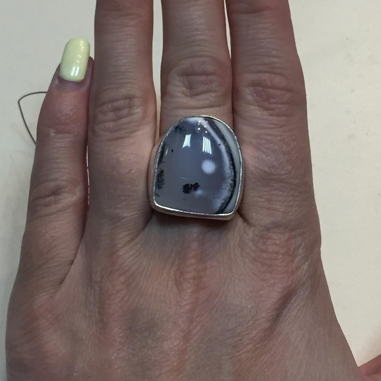 Дендритовый опал красивое кольцо с дендро-опалом в серебре 18 размер Индия