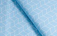 Сатин (хлопковая ткань) геометрия на голубом