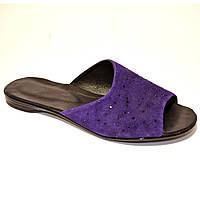 Шлепанцы женские замшевые фиолетового цвета на плоской подошве, фото 1