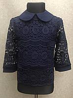 Школьная блузка для девочек 5-12 лет с макраме синего цвета, фото 1