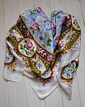 Северные цветы 736-1, павлопосадский платок (жаккард) шелковый с подрубкой, фото 4