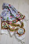 Северные цветы 736-1, павлопосадский платок (жаккард) шелковый с подрубкой, фото 3