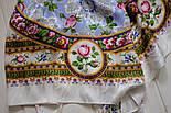 Северные цветы 736-1, павлопосадский платок (жаккард) шелковый с подрубкой, фото 5