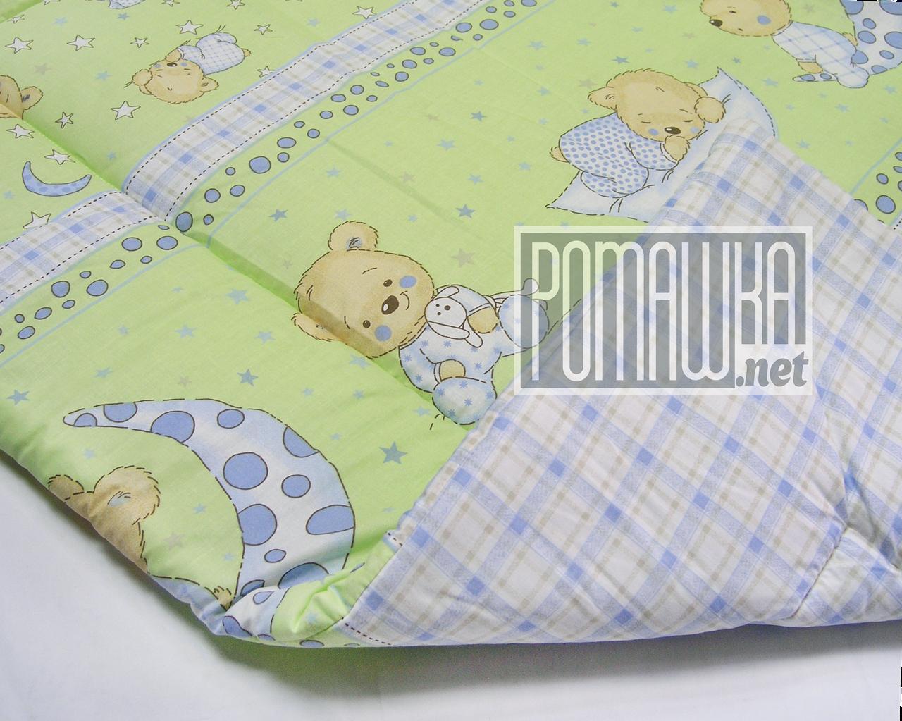Одеяло детское 140х100 новорожденному малышу гипоаллергенное в кроватку для кроватки демисезонное 3019 Зеленый