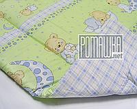 Одеяло детское 140х100 новорожденному малышу гипоаллергенное в кроватку для кроватки демисезонное 3019 Зеленый, фото 1