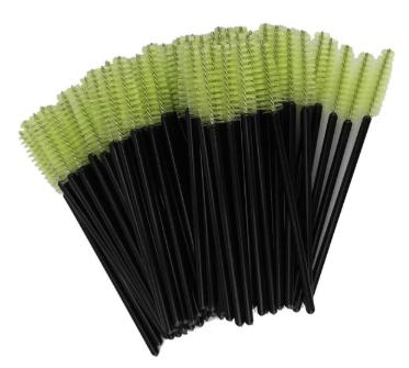 Щеточки для расчесывания ресниц салатовые с чёрной ручкой, 50 шт. в упаковке