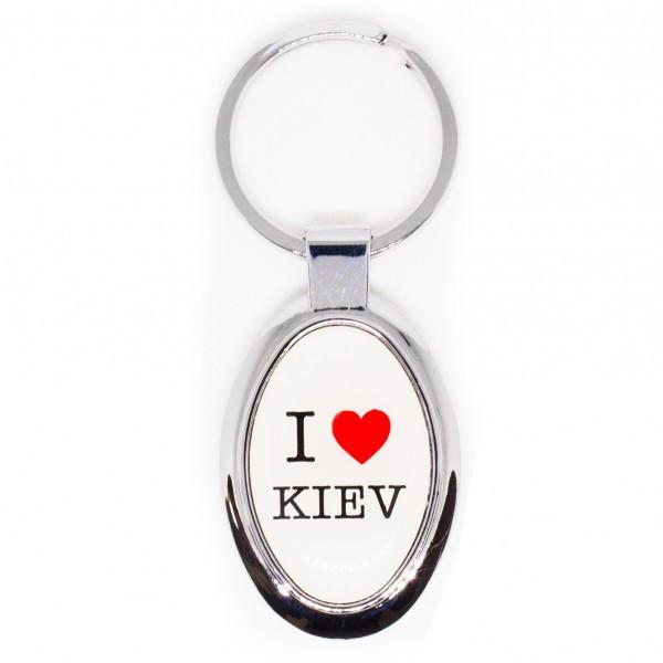 "Брелок ""I Love Kiev"", белый овальный"
