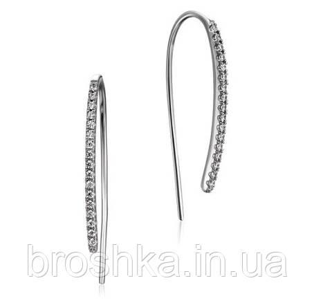 Серебряные серьги с застежкой петля, фото 2