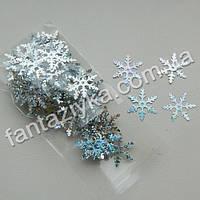 Пайетки фигурные Снежинки мелкие 17мм, серебряные с голограммой, 2г