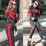 Женский стильный спортивный/повседневный костюм: штаны с высокой посадкой, кофта укорочена (в расцветках), фото 4