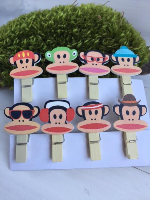 Мавпы на прищепках 3,5 см * 0,7 см ( упаковка  8 шт )
