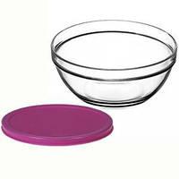 Салатник стеклянный Pasabahce Chefs 200 мм с пластиковой крышкой