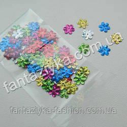 Пайетки фигурные Цветочки мелкие 9мм микс голограмма, 2г